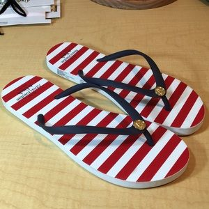 New Abercrombie red white blue striped flip flop